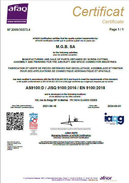 MGB SA - Certificat EN/AS 9100